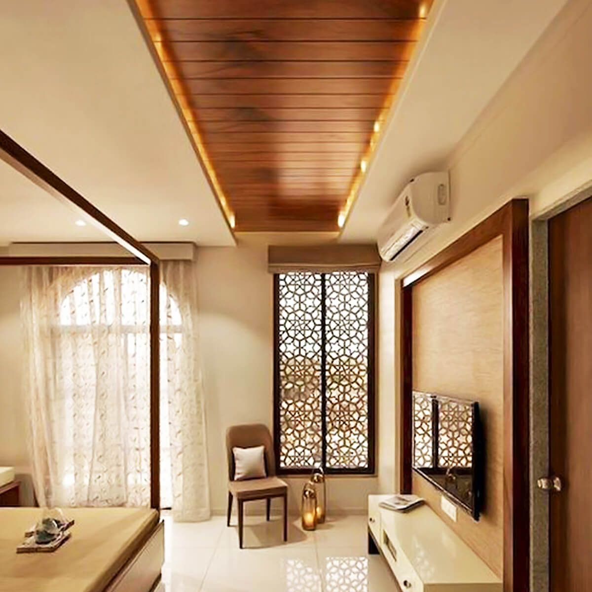 Image of: Wooden False Ceiling In Luknow Linhoff